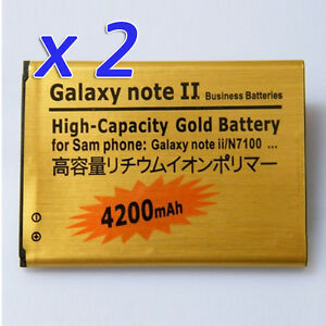 2X-NEW-Gold-4200MAH-High-Capacity-Battery-For-Samsung-Galaxy-Note-II-N7100