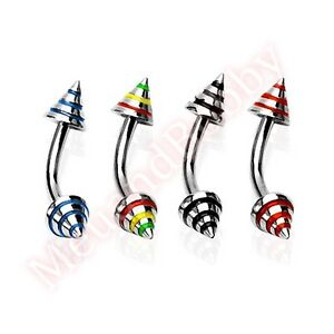 4x-16g-8mm-4mm-Stripe-Spike-Eyebrow-Bar-Rings-Body-Jewellery