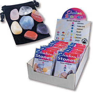 BNIP Set of 7 Chakra Tumbled Stones: Velvet Pouch, Instructions Lithotherapy