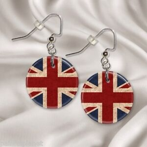 UNION-JACK-British-Flag-1-Button-Dangle-Earrings-FREE-PIN-USA-Seller