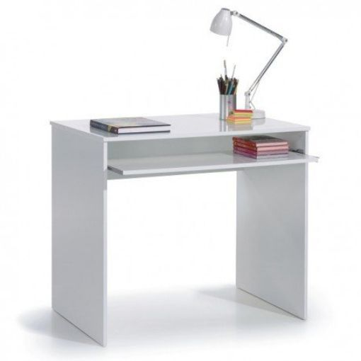 i-Joy Computer Desk with pull out keyboard shelf in Gloss White
