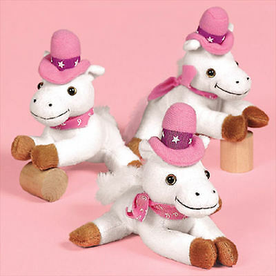 6 HORSES Plush White & Pink Cowgirl Stuffed Animals Western theme Birthday party