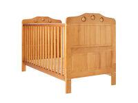 Pine Cot bed with mattress. Also cot mattress.