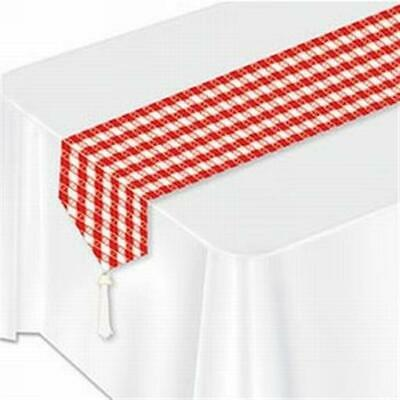 Red Gingham Laminated Paper Table Runner Summer Picnic BBQ Party - Picnic Table Decorations