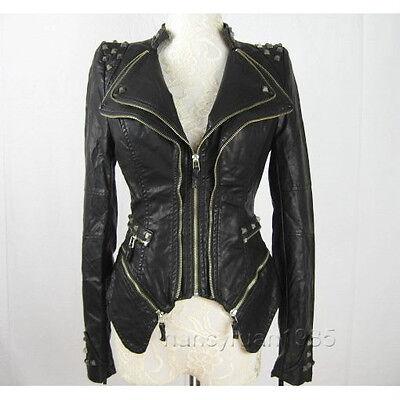 New Womens Punk Spike Studded Shoulder PU Leather Zipper coat Size S-XL