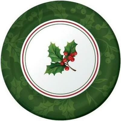 Conventional Holly 7 Inch Paper Plates 8 Pack Snowman Christmas Winter Decor