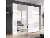 BETA White Gloss Mirror Sliding Wardrobe - 22981657