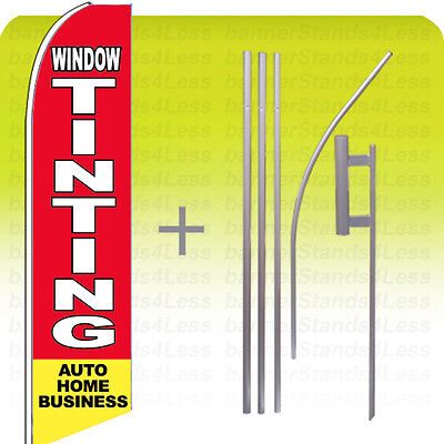 WINDOW TINTING AUTO HOME Swooper Flag KIT Feather Flutter Banner Sign 15' Ta- rb ()