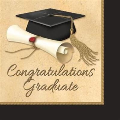 Sophisticate Grad 3-Ply Lunch Napkins 16 Pack Graduation Party Decorations - Graduation Napkins