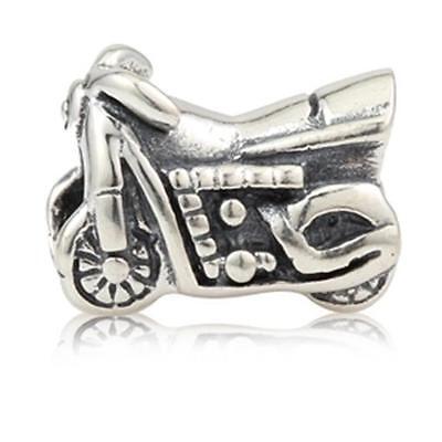 NEW 925 Sterling Silver European Bracelet Charm Bead Motorcycle