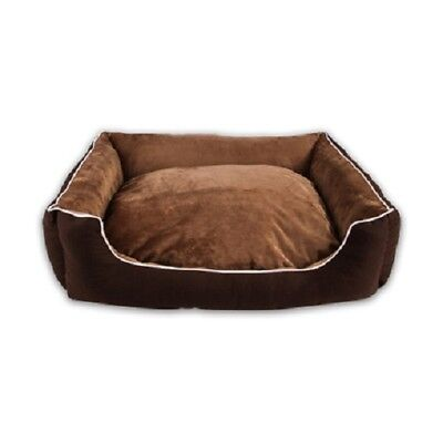 Brown Pet Bed Soft Plush Dog Bed With Removable Washable Cover for S