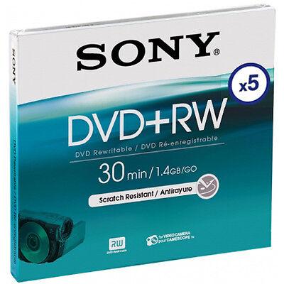5 Sony DVD+RW mini 8cm 30Min 1,4Gb wiederbeschreibbar für Camcorder Jewelcase 4 Gb Case