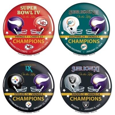 Minnesota Vikings Super Bowl Contestant Buttons Lot of 4 Commemorative Set