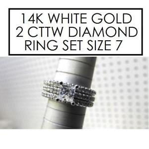NEW* STAMPED 14K DIAMOND RING SET 7 630157 154312521 JEWELLERY JEWLERY 14K WHITE GOLD 2 CTTW DIAMOND