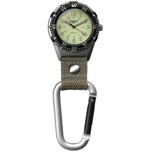 Dakota Watch 3867-6 Aluminum Backpacker Clip Watch Cream & Khaki