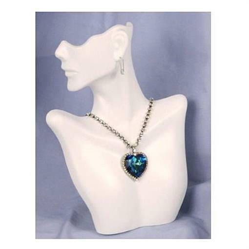 Plastic Necklace & Earring Display Bust Form - White