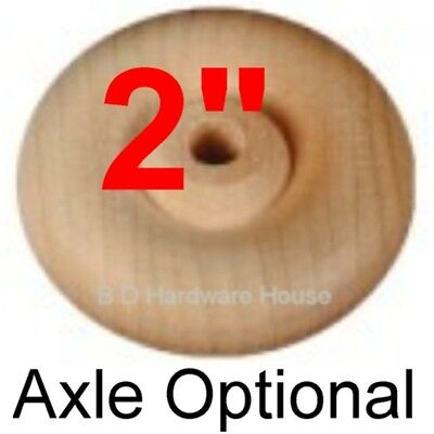 """2"""" Wood Wheels - Select 4 to 100 with or without Axles - Toy"""