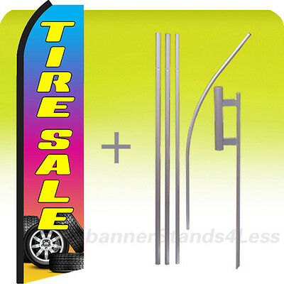 Tire Sale Swooper Flag Kit Feather Flutter Banner Sign 15 S - Z Rainbow Color