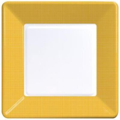 School Bus Yellow Textured Square Paper Plates 9-inch 12 Per Pack (Yellow Paper Plates)