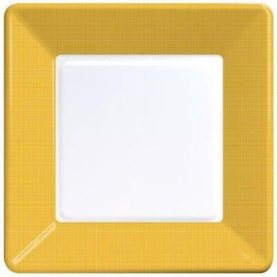 School Bus Yellow Textured Square Paper Plates 9-inch 12 Per Pack - Paper Square Plates