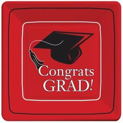 Graduation Paper Plates - Red Graduation 7-Inch Paper Plates 18 per Pack
