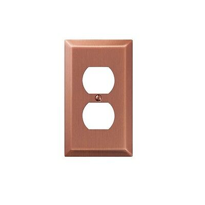 Amerelle 163DAC Stamped Steel 1 Duplex Wall Plate, Antique -