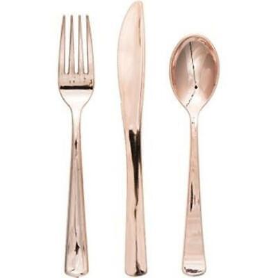 Gold Plastic Cutlery (Formal or Wedding Rose Gold Metallic Plastic Cutlery 24)