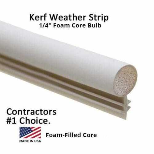 "1/4"" (Foam-Filled) Window Kerf Slot Sash Weatherstrip Seal Bulb [Wht, Brn,Blk]"