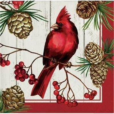 Winter Cardinal 3-Ply Beverage Napkins 16 Pack Winter Christmas Party Decoration](Cardinal Party Supplies)