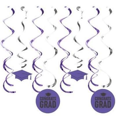 Graduation Deluxe Hanging Danglers Purple 8 Pack Grad Party Decoration