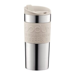 Bodum Vacuum Travel Mug, Stainless Steel with White Lid and Band, 0.35L
