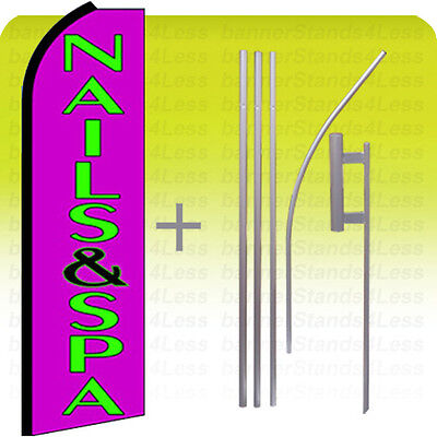 Nails Spa Swooper Flag Kit Feather Flutter Banner Sign 15 Tall - Purple Q