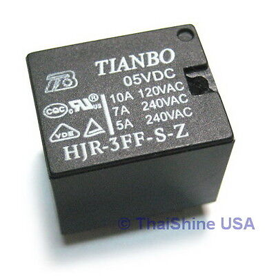 2 X Mini Relay Spdt 5 Pins 5vdc 10a 120v Contact - Usa Seller - Free Shipping