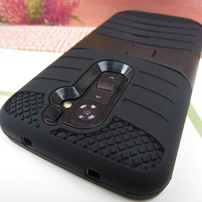 Black Rugged Impact Hard+Rubber Hybrid Cover Case w/ Stand for LG G2 (2013) on Rummage