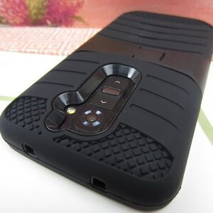 Black Rugged Impact Hard+Rubber Hybrid Cover Case w/ Stand for LG G2 (2013)