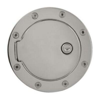 Locking Fuel Door Riveted Ring Billet Aluminum; Chrome  Billet Locking Fuel Door