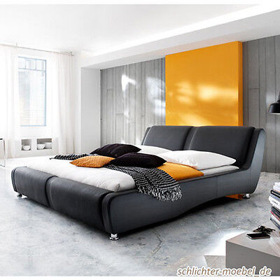 NOVARA Polsterbett Kunstleder Leder Designerbett Futonbett Bett 160x200 Schwarz