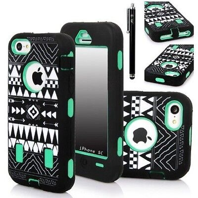 E LV Deluxe Printed Hard Soft High Impact Hybrid Armor Defender Case for iPhone  Deluxe Soft Case