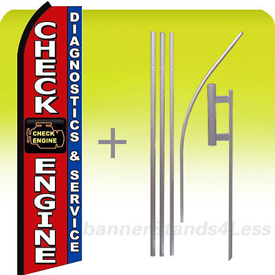 Check Engine Diagnostics Service Swooper Flag Kit Feather Banner Sign 15 Rz
