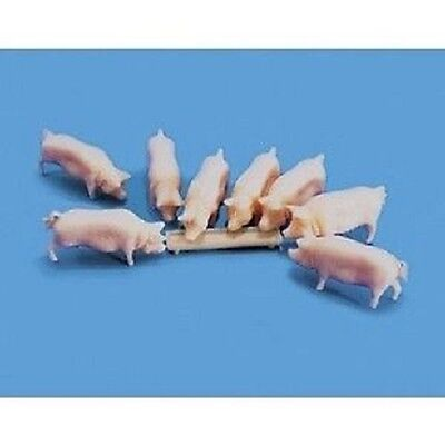 8 pigs with trough farm scenery Model Scene 5108 OO HO UK