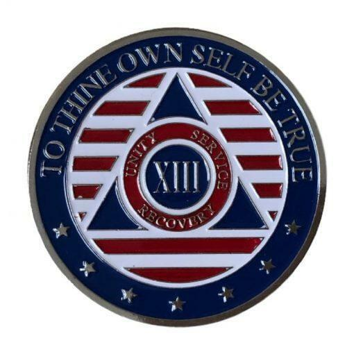 13 Year Patriotic Stars and Stripes AA/NA Recovery Medallion - Red/White/Blue