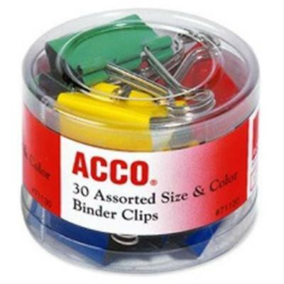 Acco Brands- Inc. ACC71130 Binder Clips in Soft Tub- Assorted Sizes- Colors