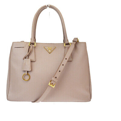 Auth Prada 2WAY Saffiano Leather Handbag Beige 84GA863