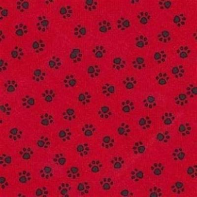 Black Paw Tracks on Red Quilt Cotton fabric by the yard dog cat