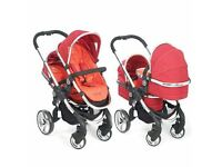 iCandy Peach Blossom Twin Pram & Stroller Package - Tomato