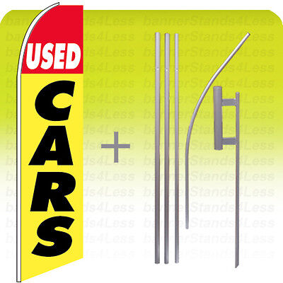 Used Cars Swooper Flag Kit Feather Flutter Banner Sign Auto 15 - Yb