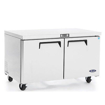 New 60 2 Door Undercounter Worktop Refrigerator With Casters Free Shipping