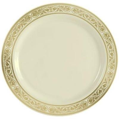 Formal or Wedding Royalty Plastic Dessert Plates 6 Inch Gold Trim 10 Pack