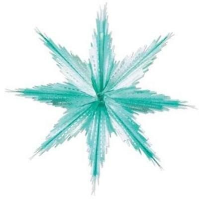 2-Tone Metallic Snowflakes Turquoise and Silver 2 Pack Winter Christmas Party