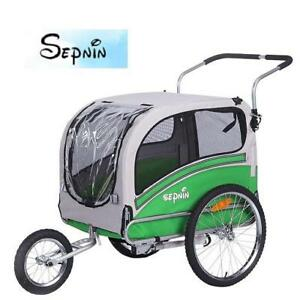NEW* SEPNINE DOG BIKE TRAILER 20303L 213292839 SEPNINE 20303L PET DOG BIKE TRAILER, GREEN/GREY